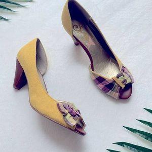 Seychelles Yellow and Purple Plaid-Trim Heels